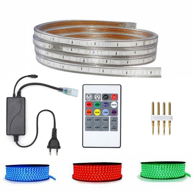 LED Strip Set RGB - 5 Meter - Dimbaar - IP65 Waterdicht - Afstandsbediening - 230V