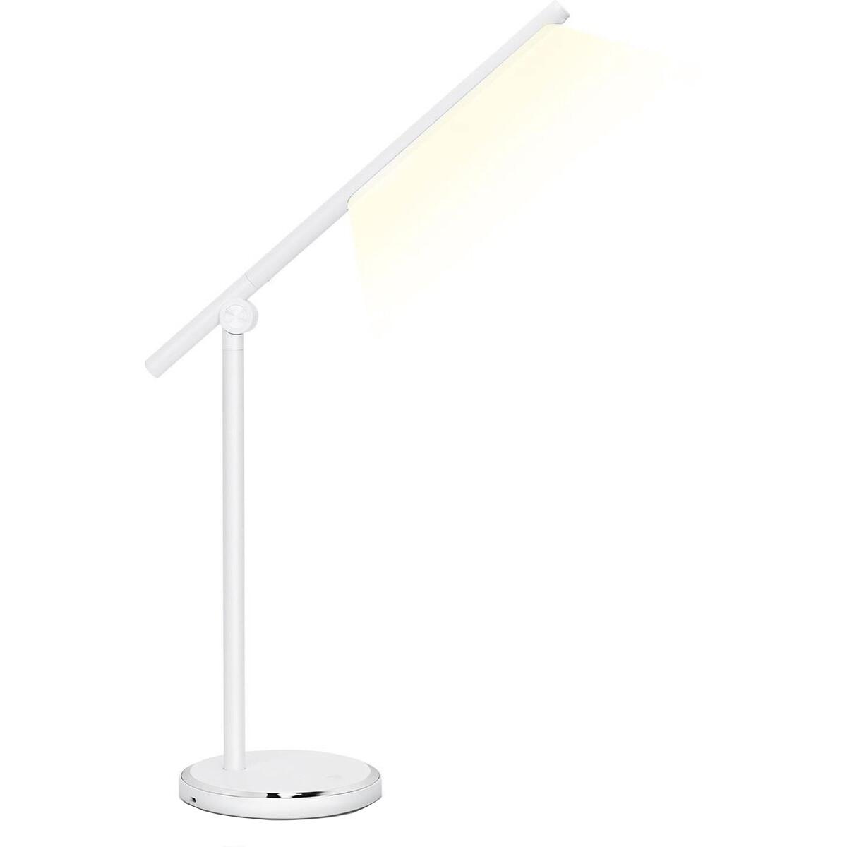 LED Tafellamp - Aigi Libo - 8W - USB Oplaadfunctie - Aanpasbare Kleur - Dimbaar - Rechthoek - Mat Wit - Aluminium