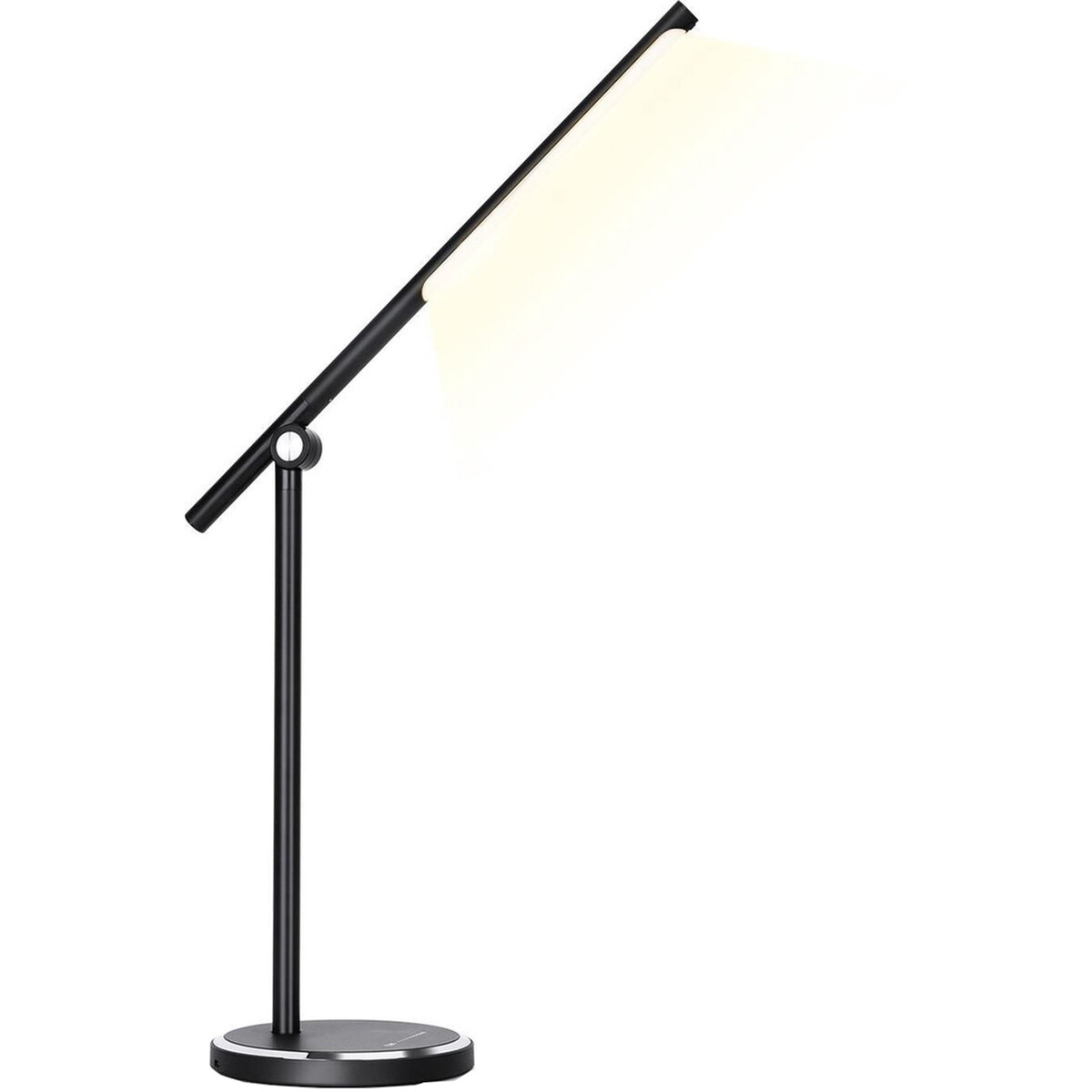 LED Tafellamp - Aigi Libo - 8W - USB Oplaadfunctie - Aanpasbare Kleur - Dimbaar - Rechthoek - Mat Zwart - Aluminium