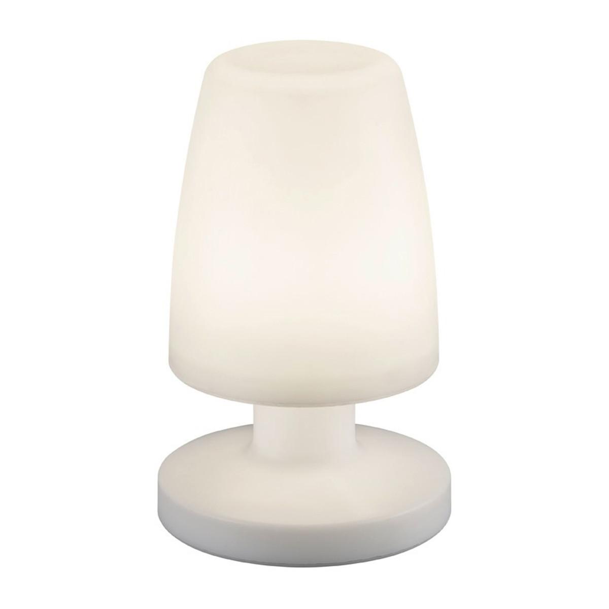 LED Tafellamp - Trion - Ovaal - Wit - Kunststof - Spatwaterdicht - USB Oplaadbaa