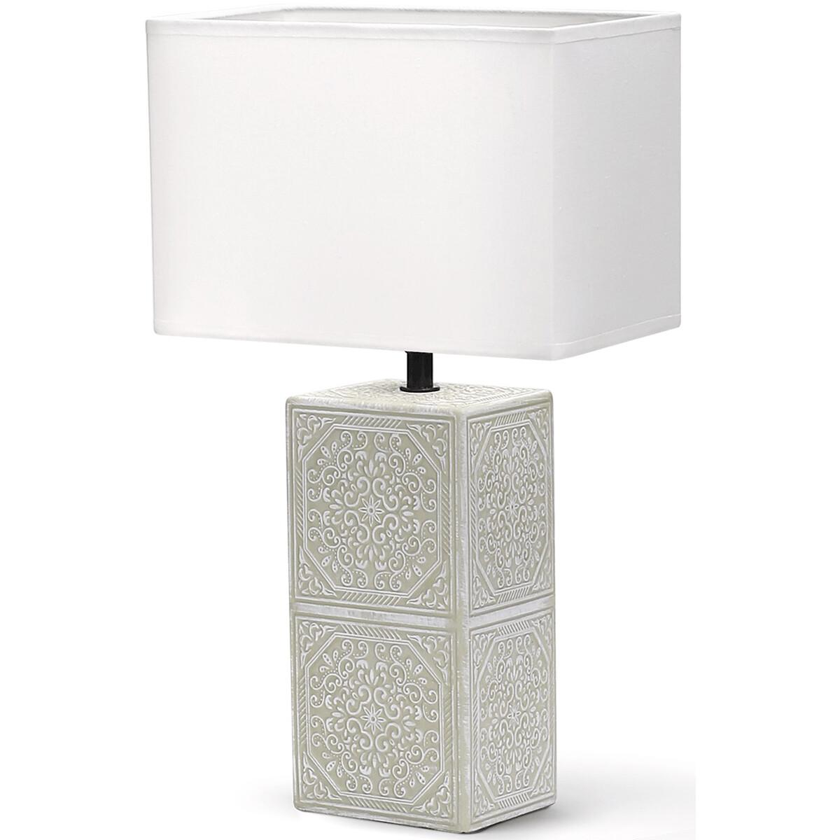 LED Tafellamp - Tafelverlichting - Aigi Astron XL - E14 Fitting - Vierkant - Mat Wit - Keramiek