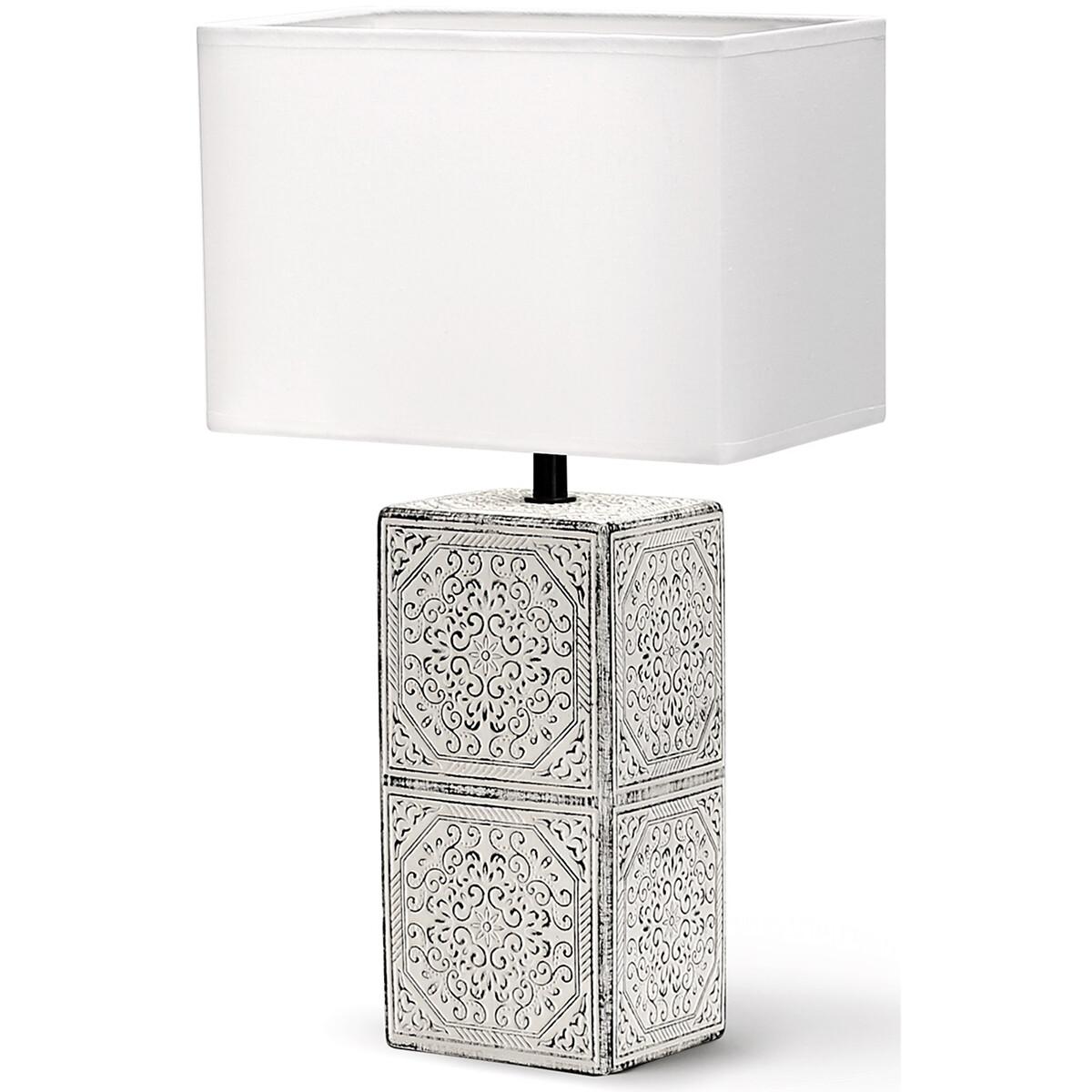 LED Tafellamp - Tafelverlichting - Aigi Astron XL - E14 Fitting - Vierkant - Mat Zwart/Wit - Keramie