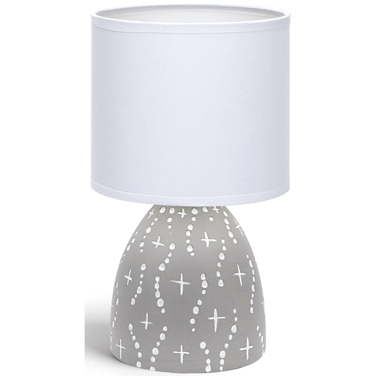 LED Tafellamp - Tafelverlichting - Aigi Atar - E14 Fitting - Rond - Mat Grijs - Keramiek