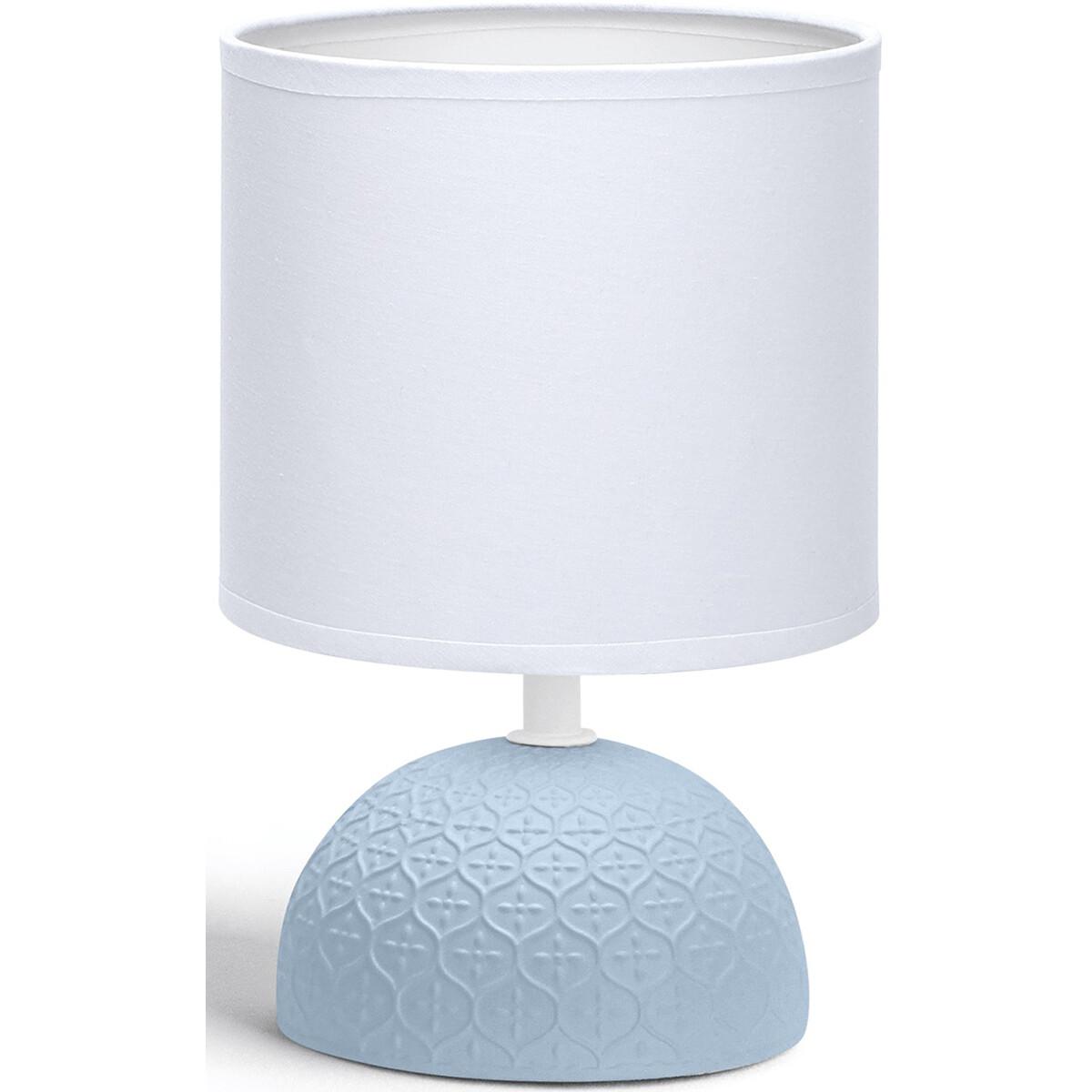 LED Tafellamp - Tafelverlichting - Aigi Conton 1 - E14 Fitting - Rond - Mat Blauw - Keramiek