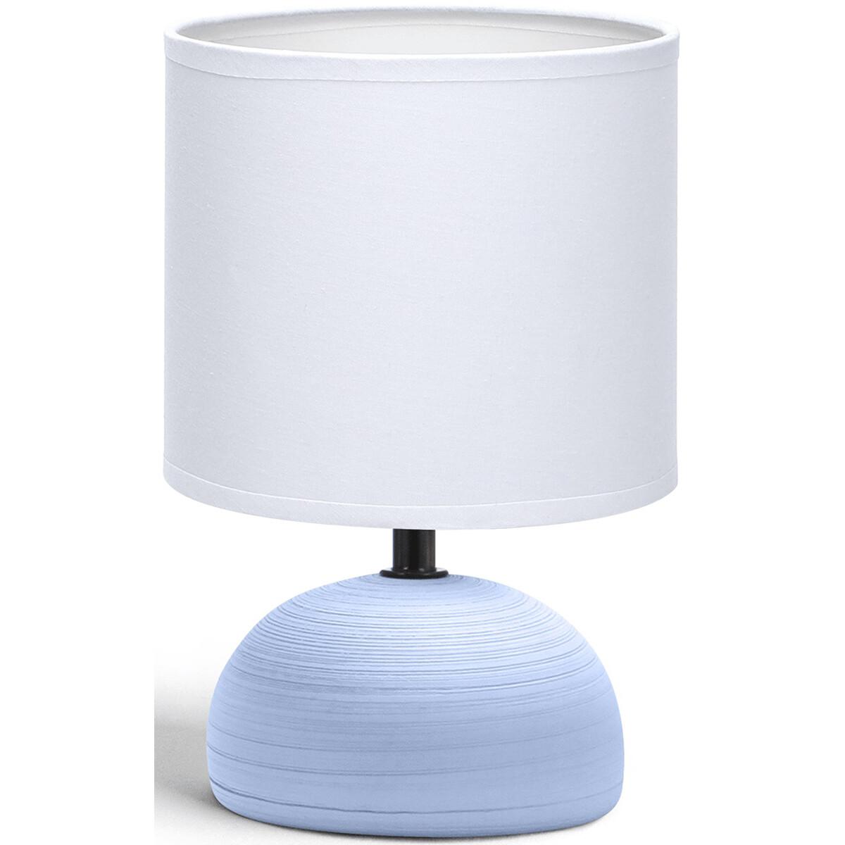 LED Tafellamp - Tafelverlichting - Aigi Conton 2 - E14 Fitting - Rond - Mat Blauw - Keramiek