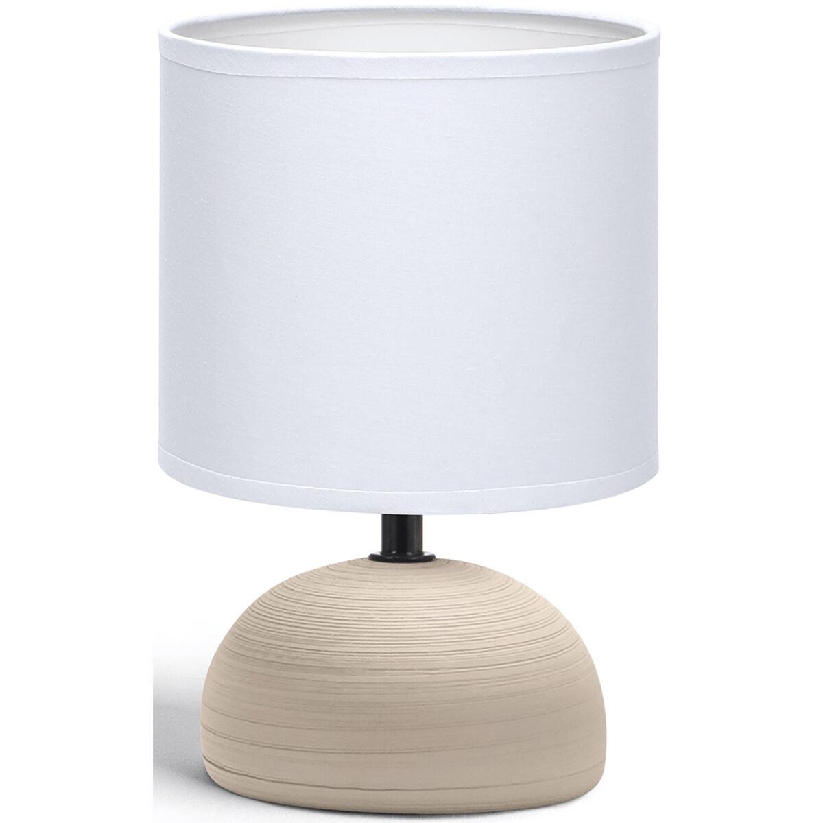 LED Tafellamp - Tafelverlichting - Aigi Conton 2 - E14 Fitting - Rond - Mat Bruin - Keramiek