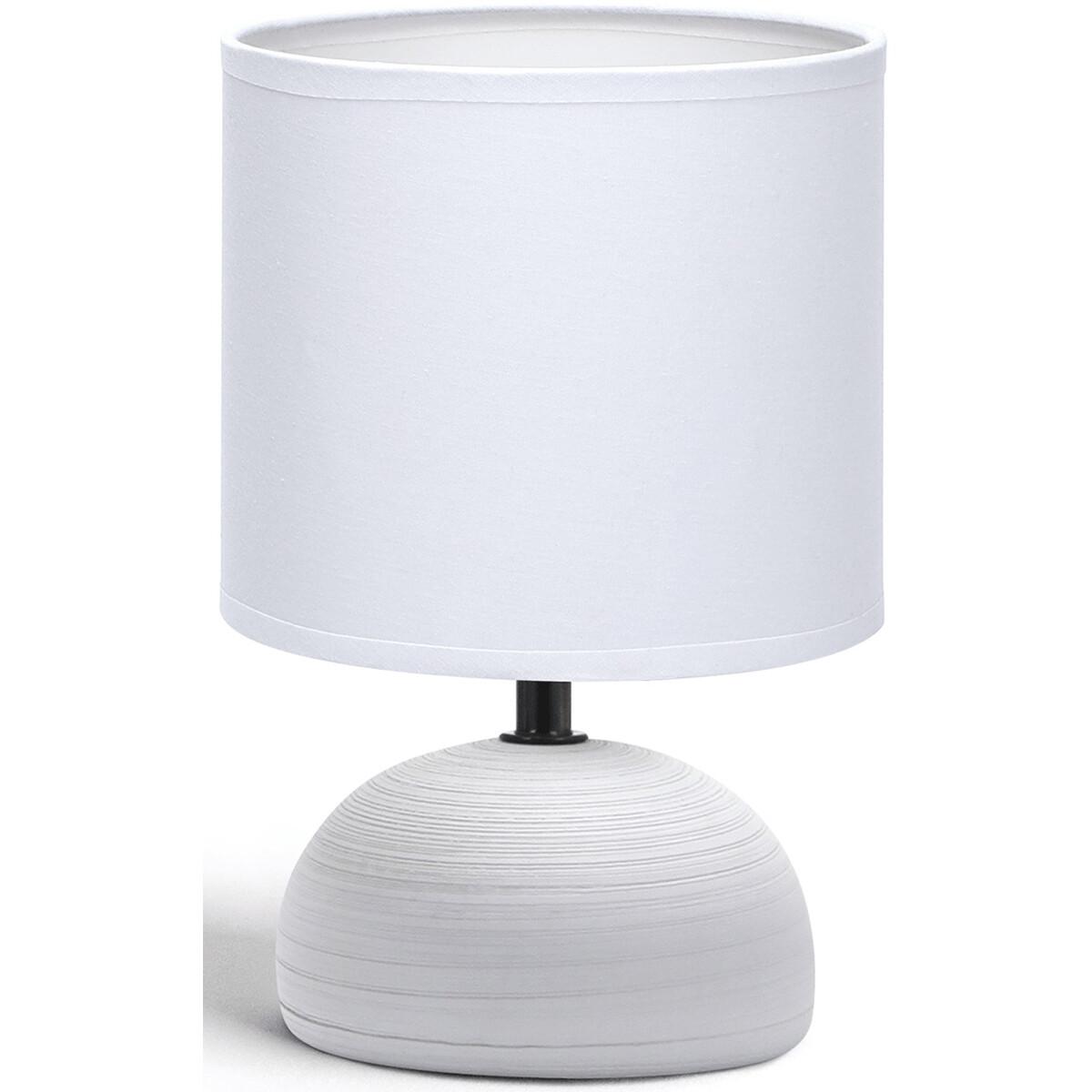 LED Tafellamp - Tafelverlichting - Aigi Conton 2 - E14 Fitting - Rond - Mat Grijs - Keramiek