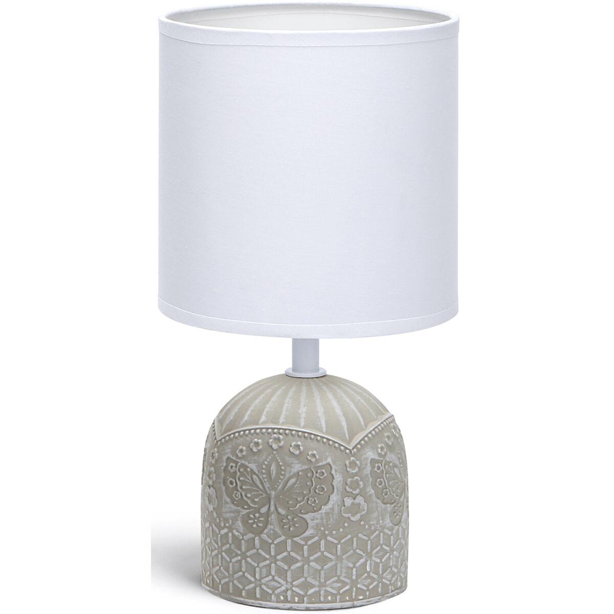 LED Tafellamp - Tafelverlichting - Aigi Cruni - E14 Fitting - Rond - Mat Grijs - Keramiek