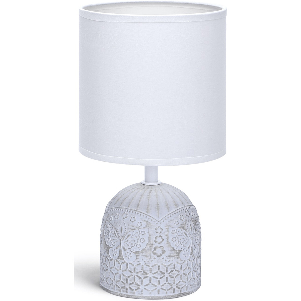 LED Tafellamp - Tafelverlichting - Aigi Cruni - E14 Fitting - Rond - Mat Wit - Keramiek
