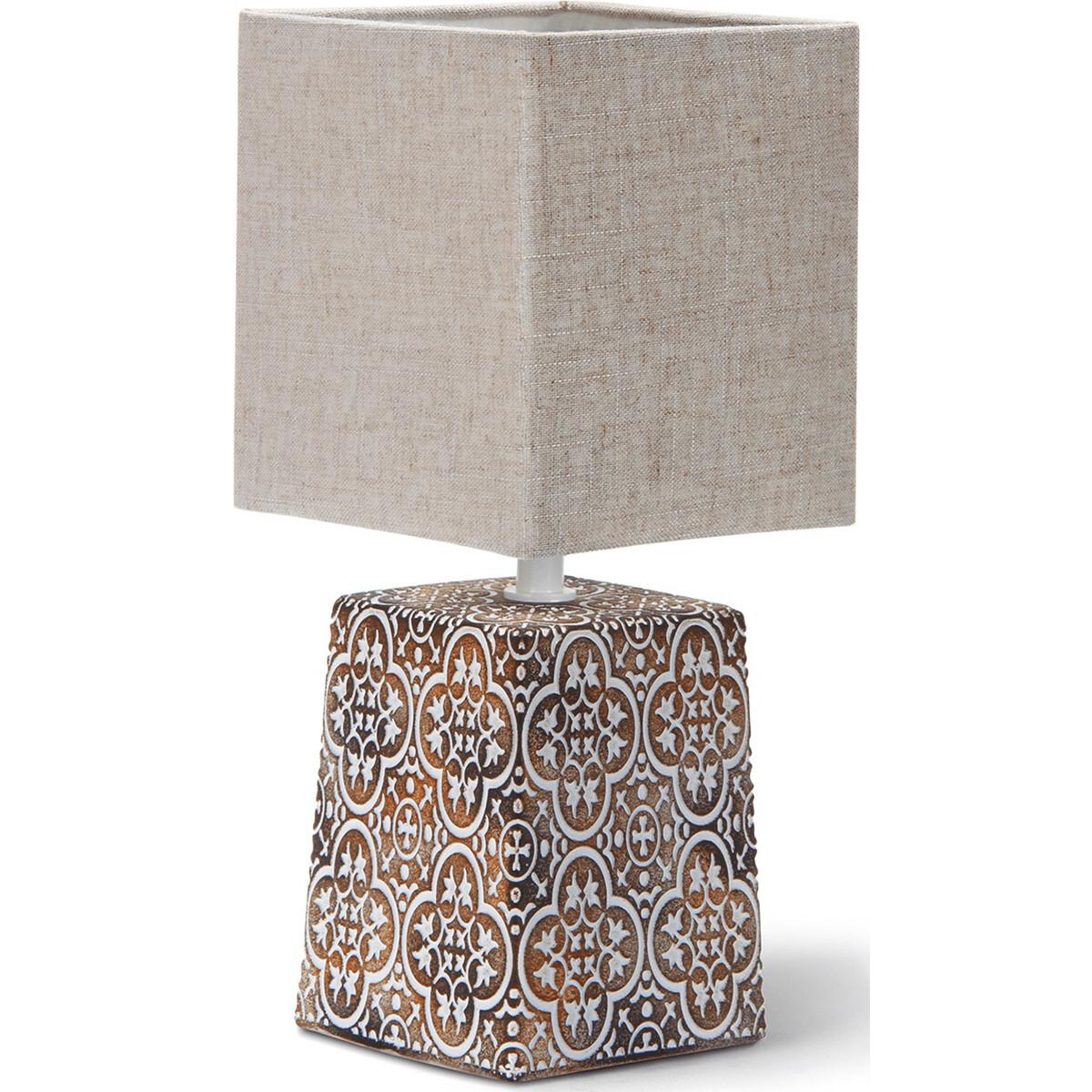 LED Tafellamp - Tafelverlichting - Aigi Doni - E14 Fitting - Vierkant - Mat Bruin - Keramiek