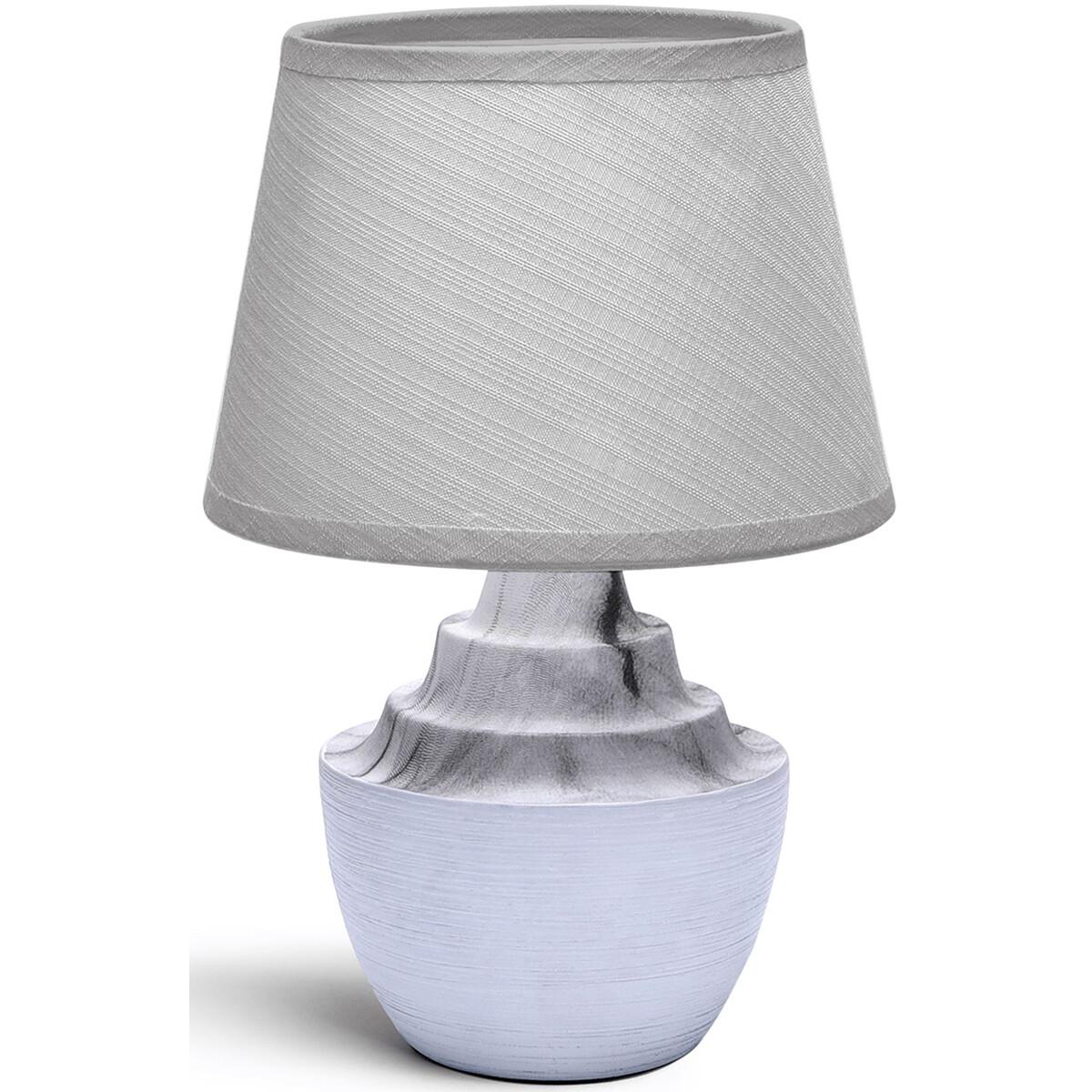 LED Tafellamp - Tafelverlichting - Aigi Fospa - E14 Fitting - Rond - Mat Wit/Grijs - Keramiek