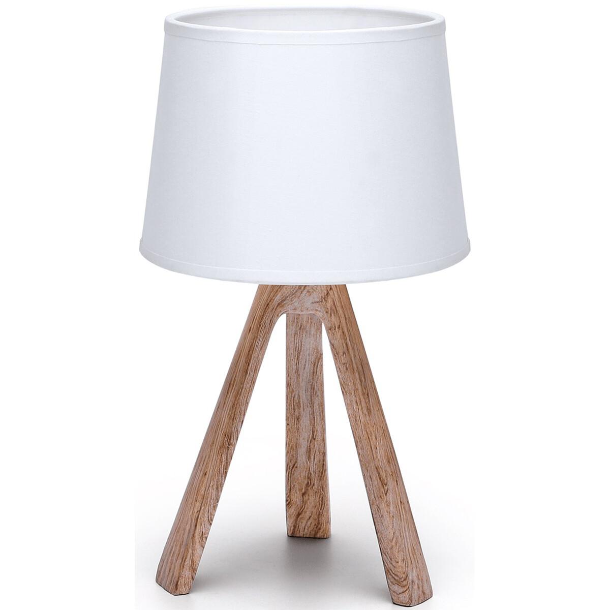 LED Tafellamp - Tafelverlichting - Aigi Linmo - E14 Fitting - Rond - Mat Bruin - Kunststof