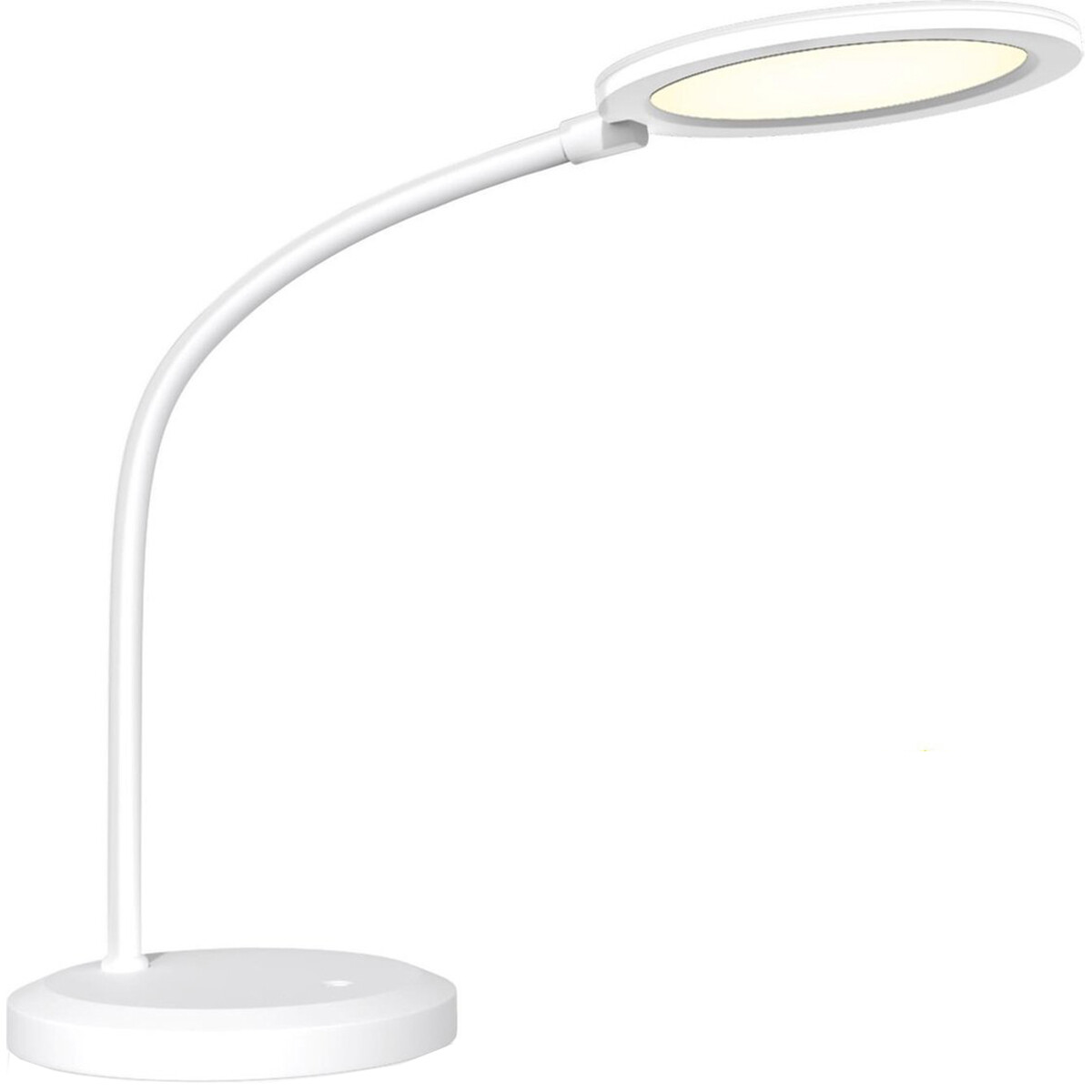 LED Tafellamp - Tafelverlichting - Aigi Priton - 7W - Natuurlijk Wit 4000K - Dimbaar - Rond - Mat Wit - Kunststof