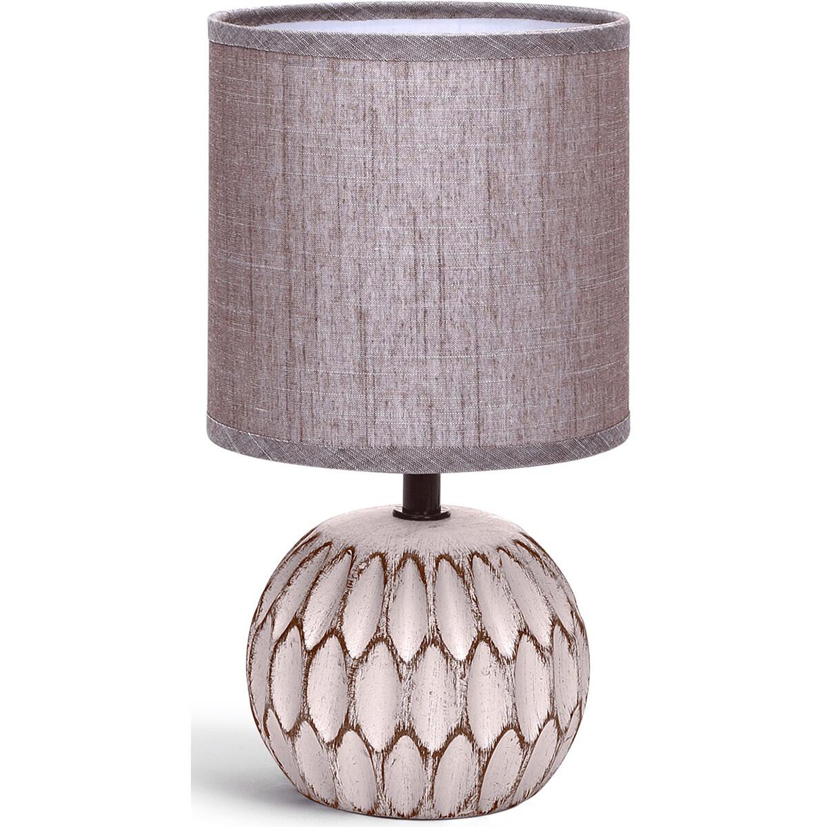 LED Tafellamp - Tafelverlichting - Aigi Traplon - E14 Fitting - Rond - Mat Bruin - Keramiek
