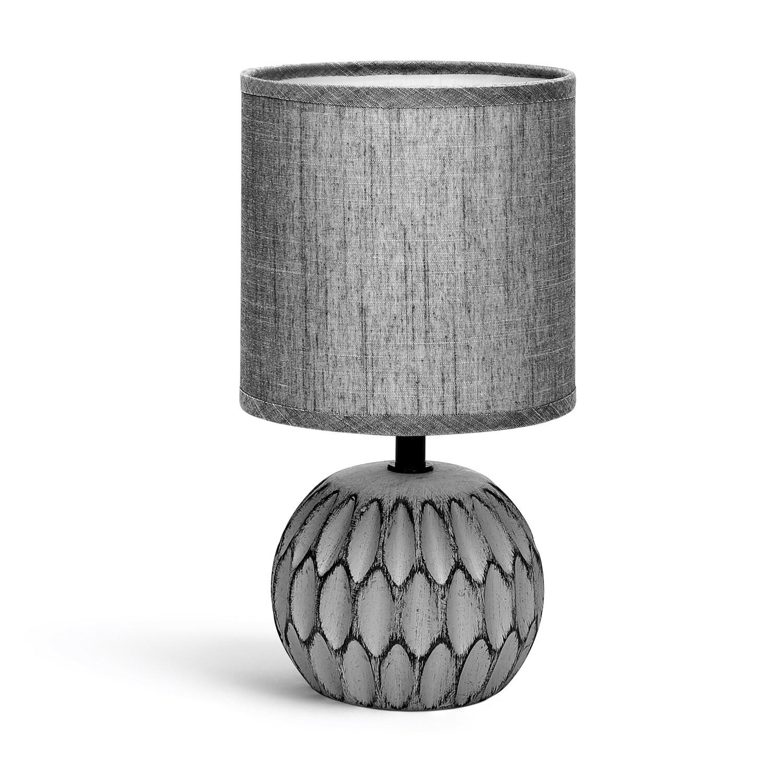 LED Tafellamp - Tafelverlichting - Aigi Traplon - E14 Fitting - Rond - Mat Grijs - Keramiek