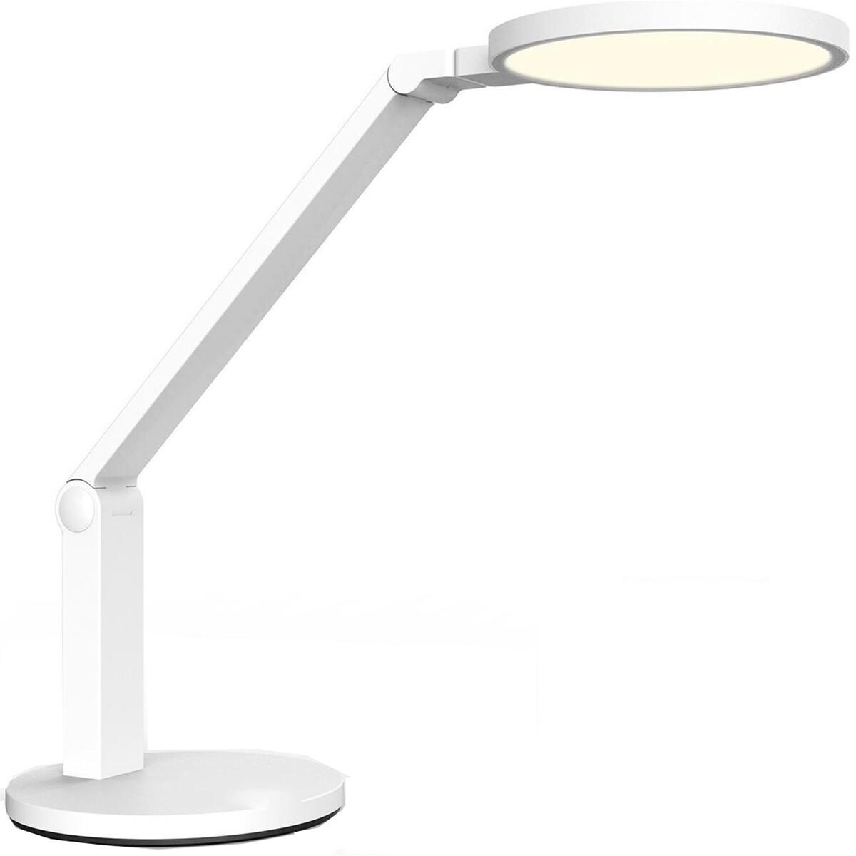 LED Tafellamp - Tafelverlichting - Aigi Unova - 15W - Natuurlijk Wit 4000K - Dimbaar - Rond - Mat Wit - Kunststof