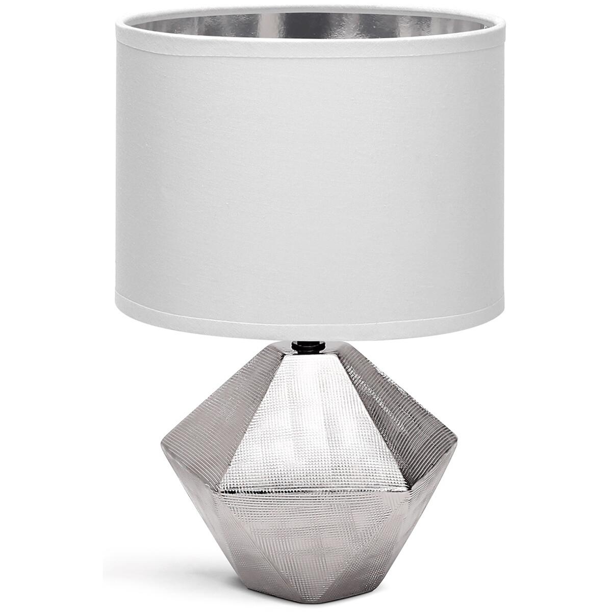 LED Tafellamp - Tafelverlichting - Aigi Uynimo XL - E14 Fitting - Rond - Mat Wit/Zilver - Keramiek