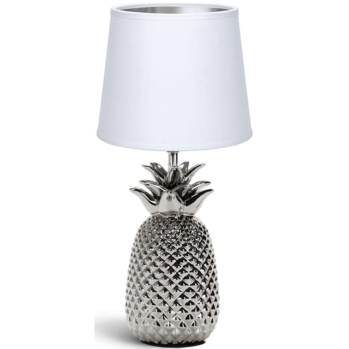 LED Tafellamp - Tafelverlichting - Aigi Winkon - E14 Fitting - Rond - Mat Wit/Zilver - Keramiek