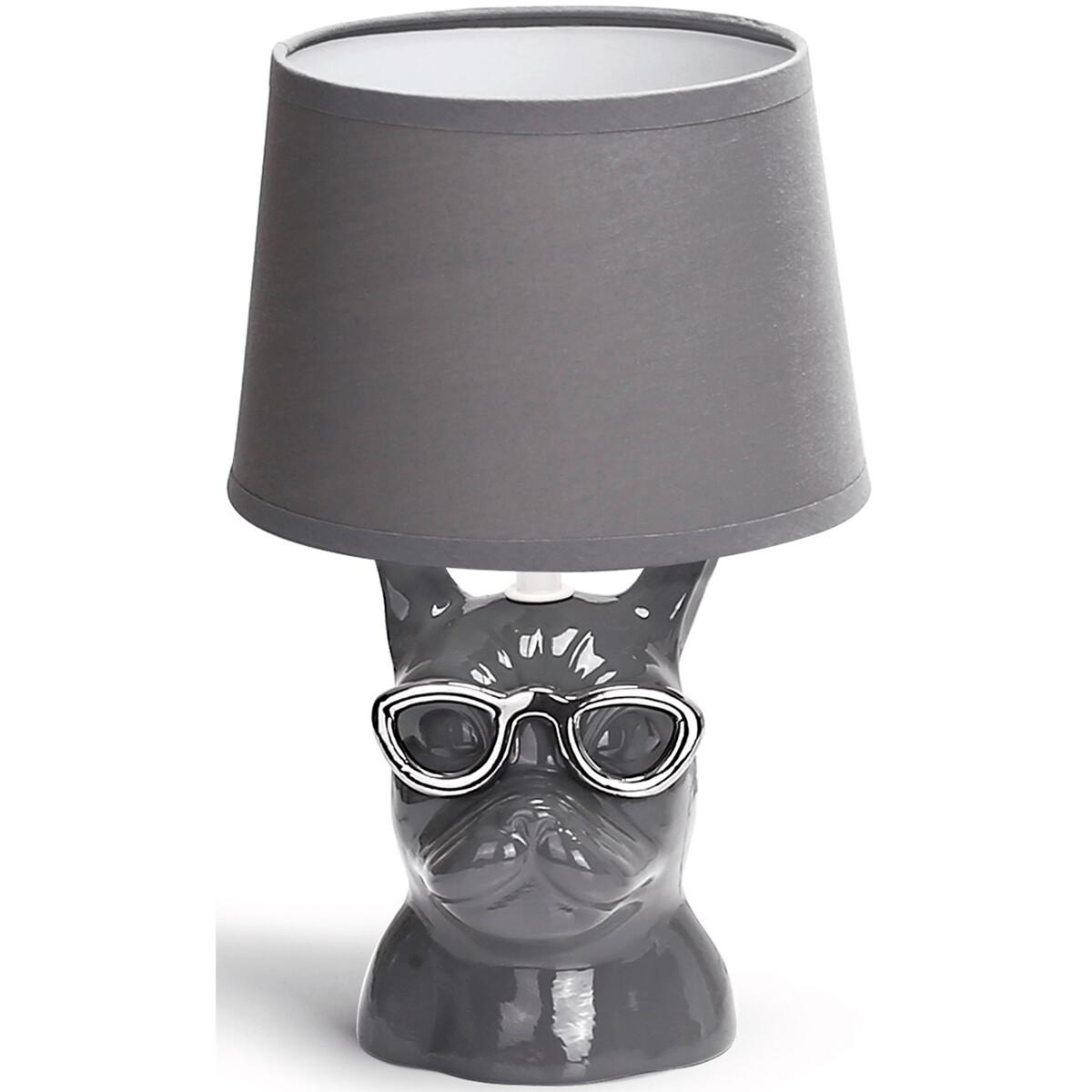 LED Tafellamp - Tafelverlichting - Aigi Xinus - E14 Fitting - Rond - Mat Grijs - Keramiek