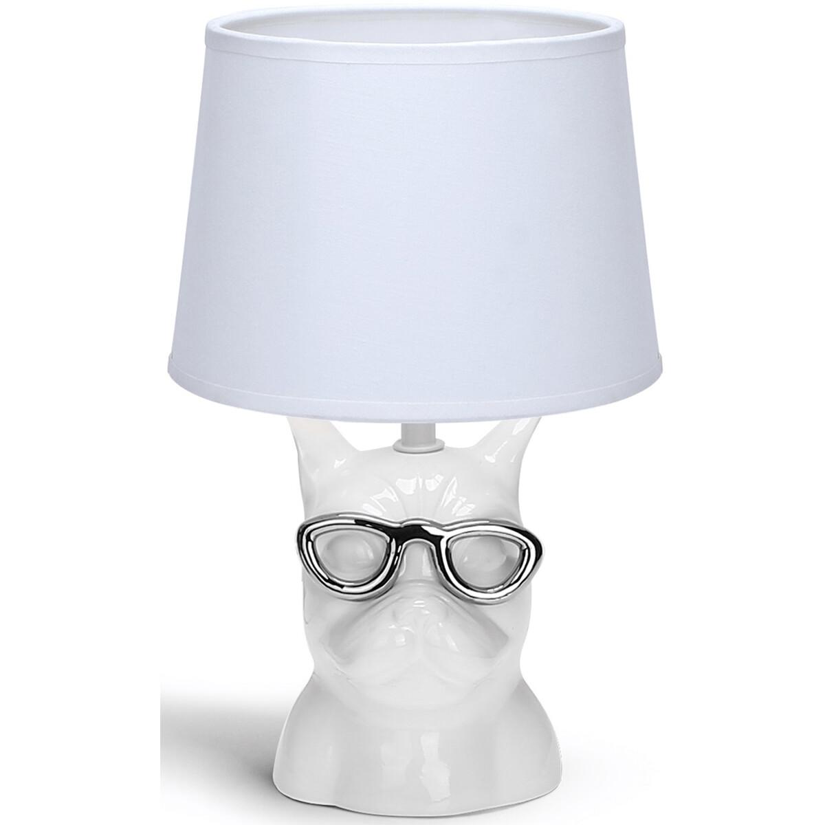 LED Tafellamp - Tafelverlichting - Aigi Xinus - E14 Fitting - Rond - Mat Wit - Keramiek