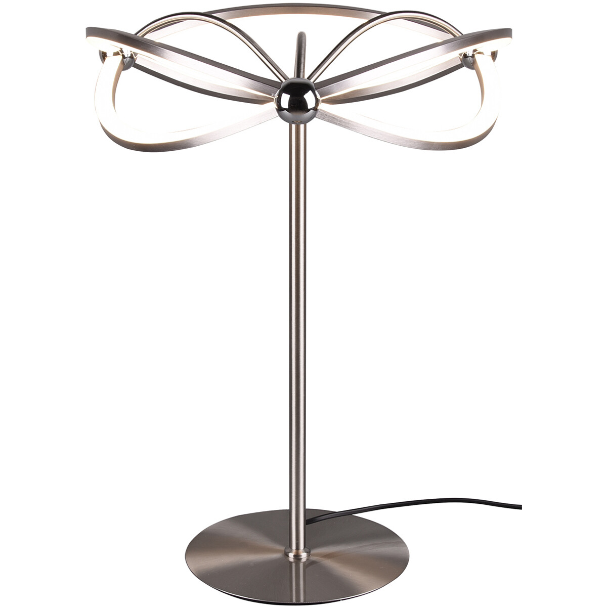 LED Tafellamp - Tafelverlichting - Trion Charis - 20W - Warm Wit 3000K - Dimbaar - Rond - Mat Nikkel - Aluminium
