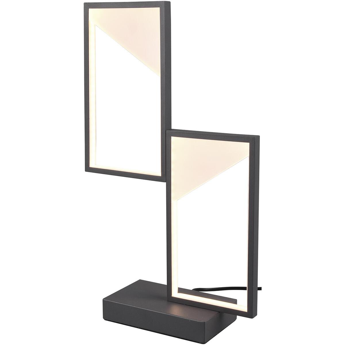 LED Tafellamp - Tafelverlichting - Trion Civa - 14W - Warm Wit 3000K - Dimbaar - Rechthoek - Mat Zwart - Aluminium