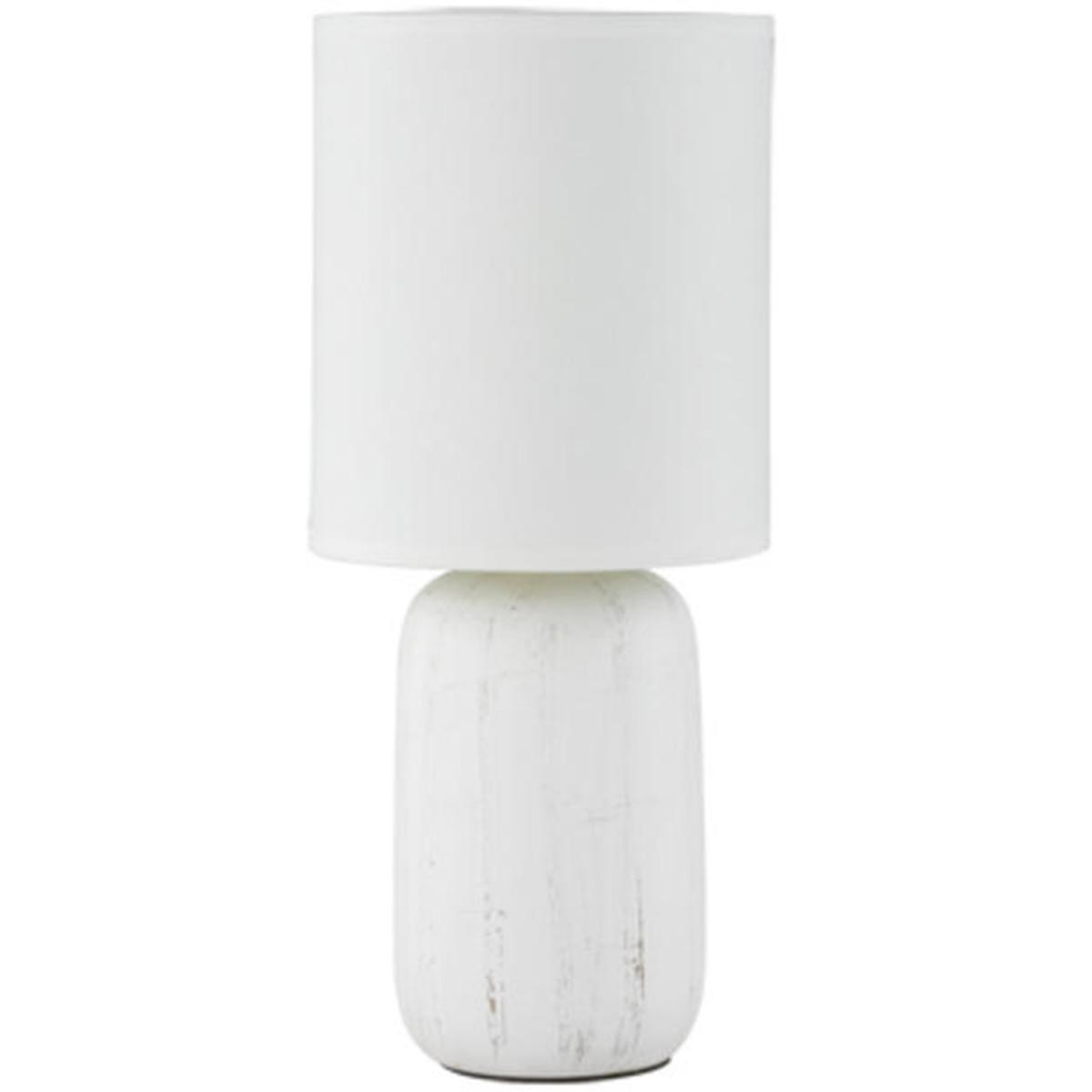 LED Tafellamp - Tafelverlichting - Trion Cleyoni - E14 Fitting - Rond - Mat Wit - Keramiek