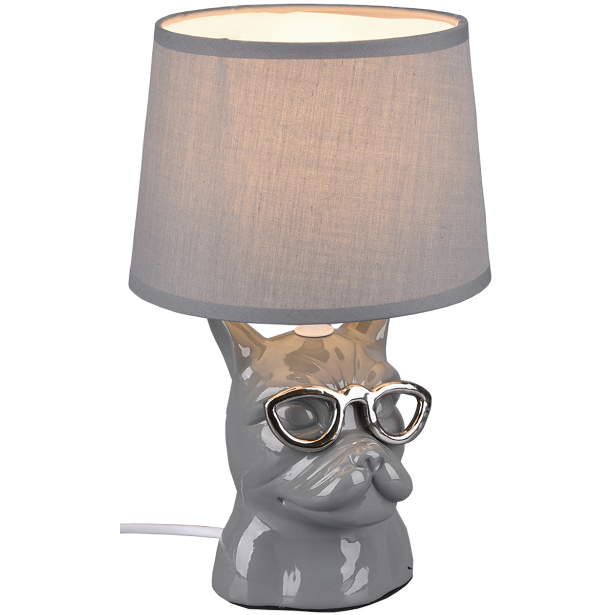 LED Tafellamp - Tafelverlichting - Trion Domino - E14 Fitting - Rond - Mat Grijs - Keramiek