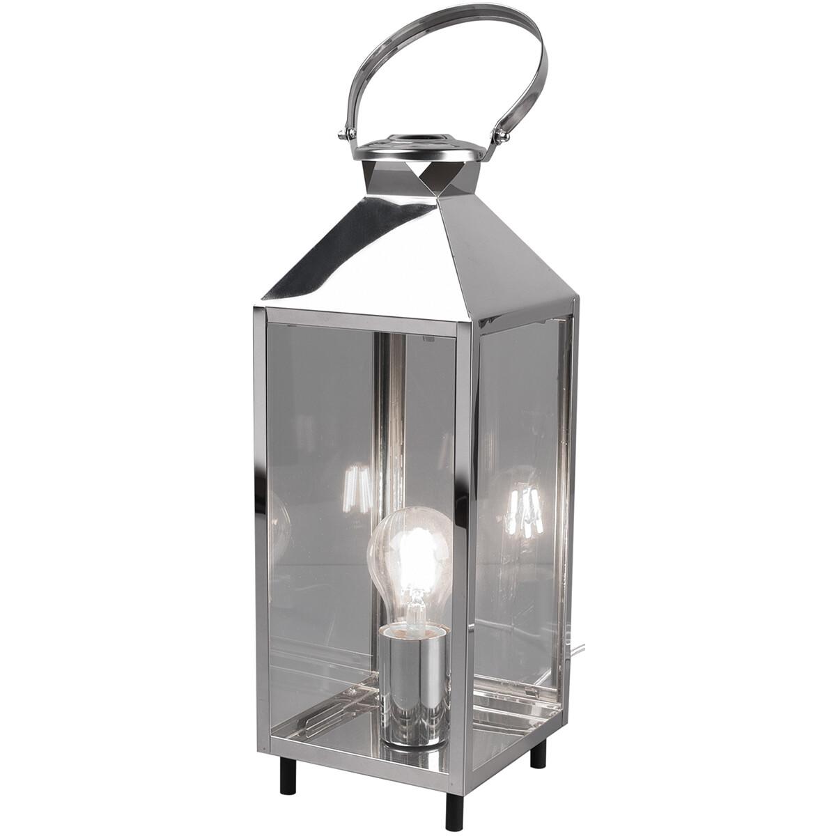 LED Tafellamp - Tafelverlichting - Trion Fala - E27 Fitting - Rechthoek - Mat Chroom - Aluminium