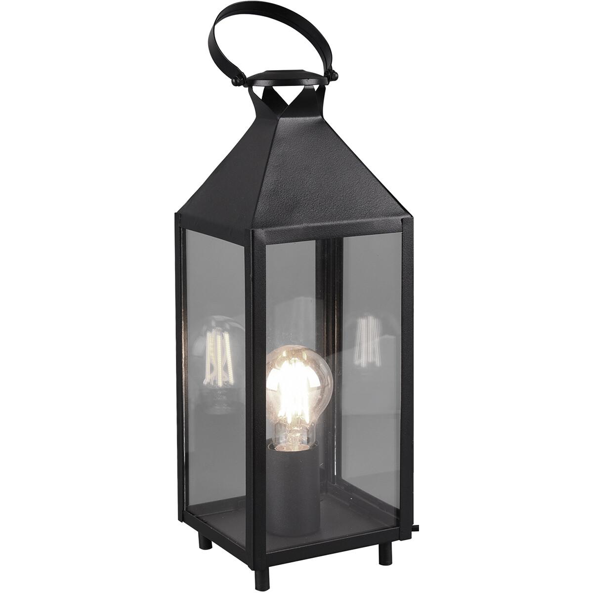 LED Tafellamp - Tafelverlichting - Trion Fala - E27 Fitting - Rechthoek - Mat Zwart - Aluminium