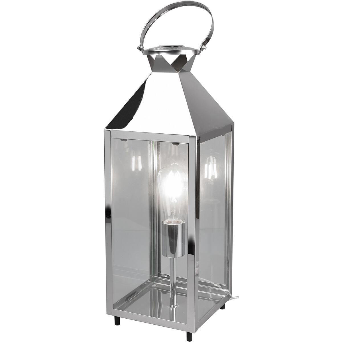 LED Tafellamp - Tafelverlichting - Trion Fala XL - E27 Fitting - Rechthoek - Mat Chroom - Aluminium