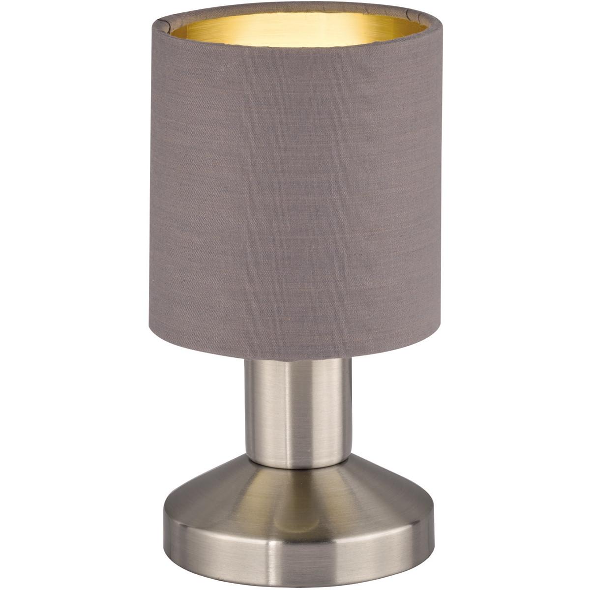 LED Tafellamp - Tafelverlichting - Trion Garno - E14 Fitting - Rond - Mat Bruin - Aluminium