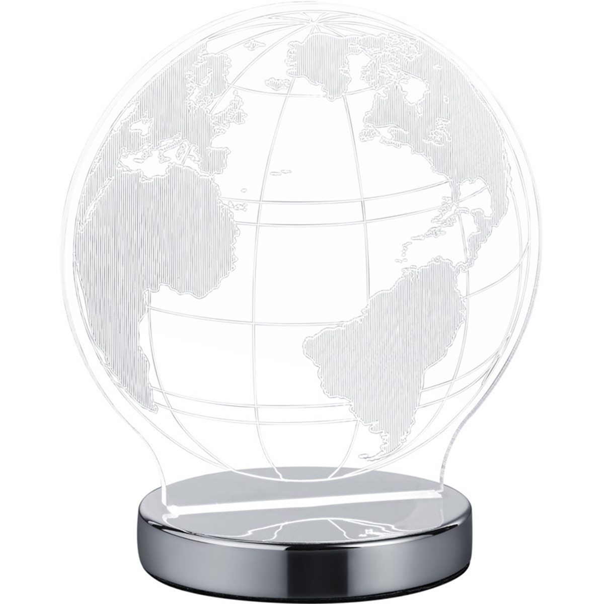 LED Tafellamp - Tafelverlichting - Trion Globin - 7W - Aanpasbare Kleur - Rond - Mat Chroom - Aluminium