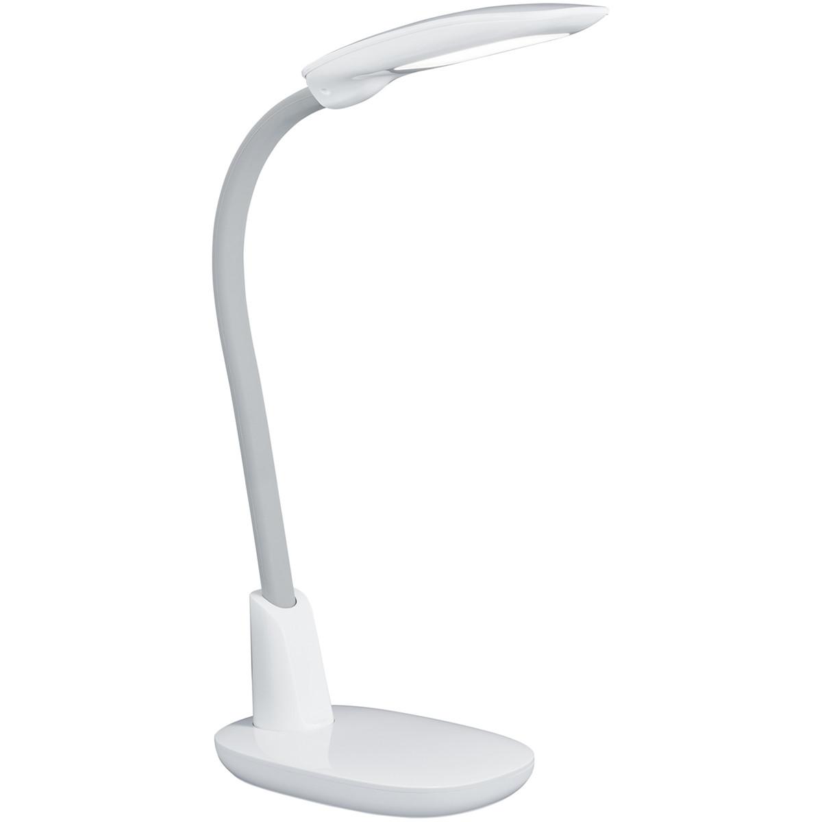 LED Tafellamp - Tafelverlichting - Trion Grino - 9W - Dimbaar - USB Oplaadbaar - Mat Wit - Kunststof