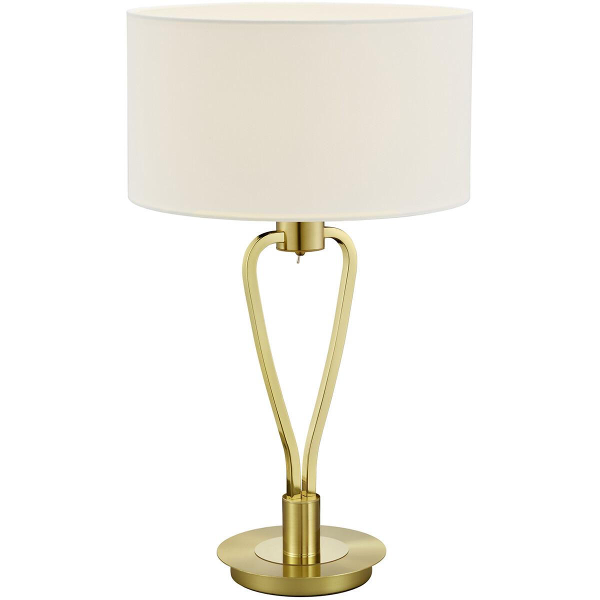 LED Tafellamp - Tafelverlichting - Trion Hilton - E27 Fitting - Rond - Mat Goud - Aluminium