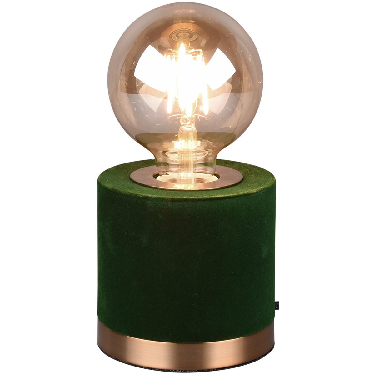 LED Tafellamp - Tafelverlichting - Trion Juda - E27 Fitting - Rond - Mat Groen - Fluweel