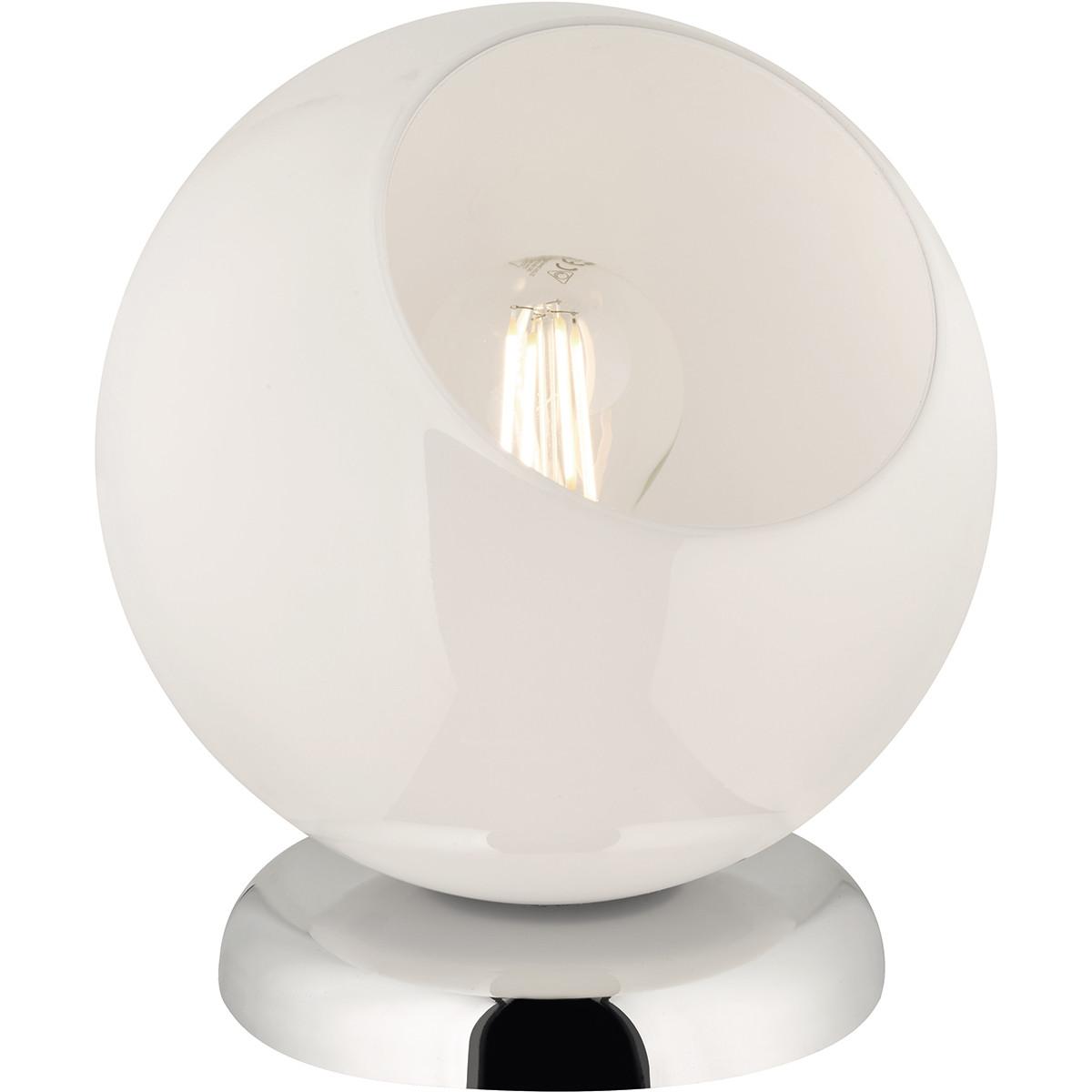 LED Tafellamp - Tafelverlichting - Trion Klino - E27 Fitting - Rond - Mat Chroom