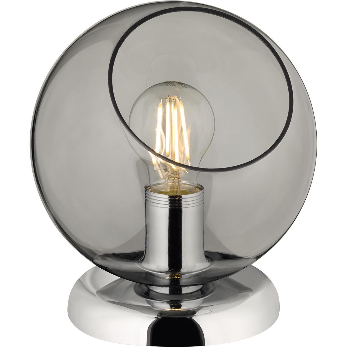 LED Tafellamp - Tafelverlichting - Trion Klino - E27 Fitting - Rond - Mat Chroom Rookkleur - Alumini