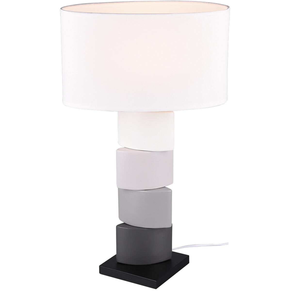 LED Tafellamp - Tafelverlichting - Trion Konan - E27 Fitting - Rond - Mat Wit - Keramiek