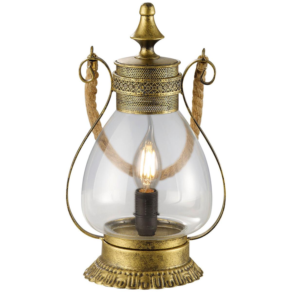 LED Tafellamp - Tafelverlichting - Trion Lindo - E14 Fitting - Rond - Oud Brons - Aluminium