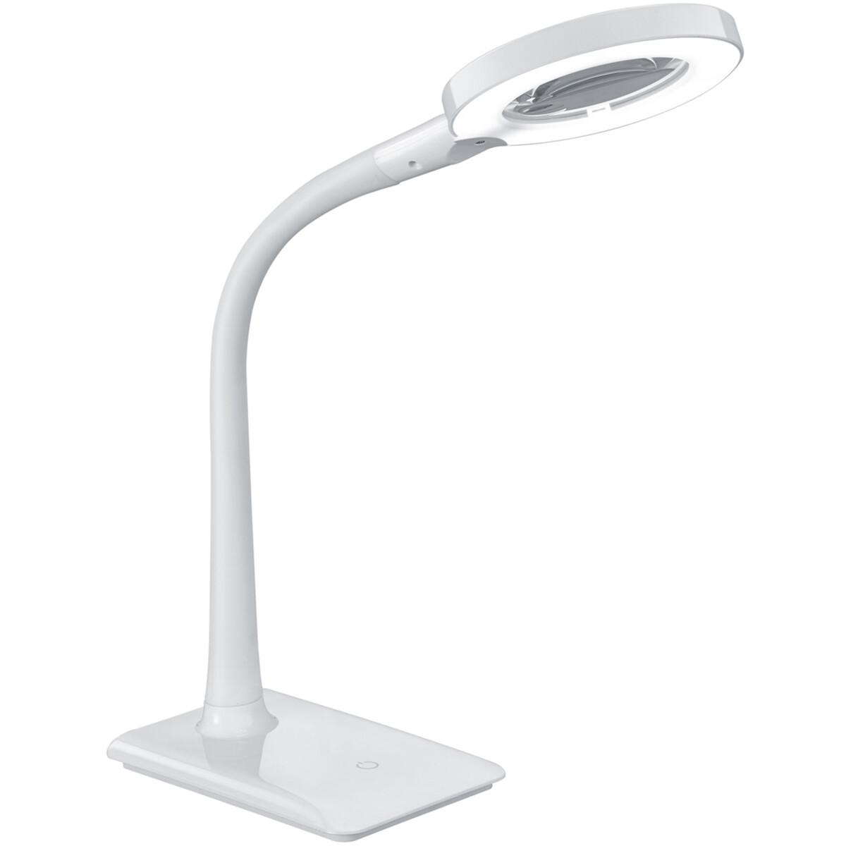 LED Tafellamp - Tafelverlichting - Trion Lumpa - 5W - Warm Wit 3000K - Rond - Mat Wit - Kunststof