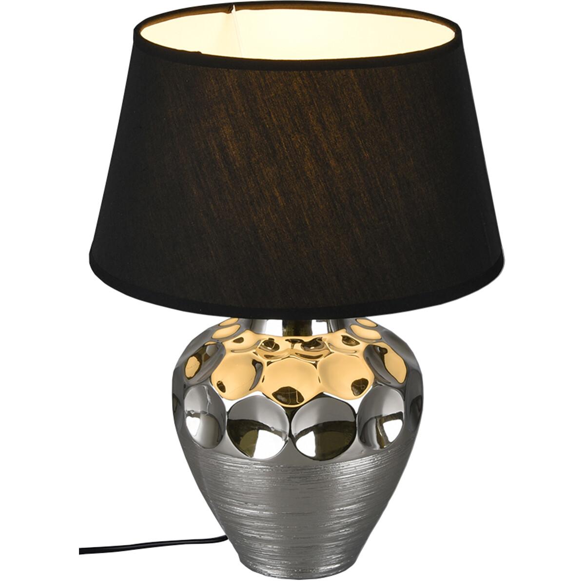 LED Tafellamp - Tafelverlichting - Trion Lunda - E27 Fitting - Rond - Mat Zilver - Keramiek