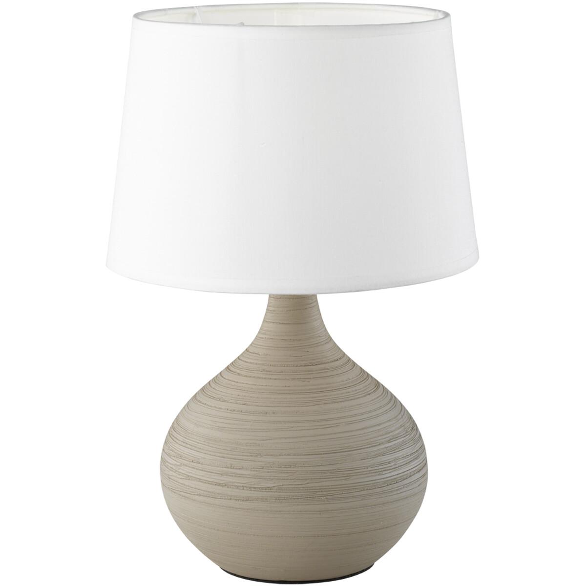 LED Tafellamp - Tafelverlichting - Trion Martan - E14 Fitting - Rond - Mat Grijs - Keramiek