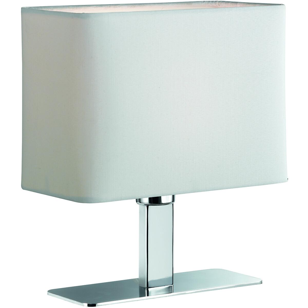 LED Tafellamp - Tafelverlichting - Trion Migon - E14 Fitting - Rechthoek - Mat Wit - Aluminium