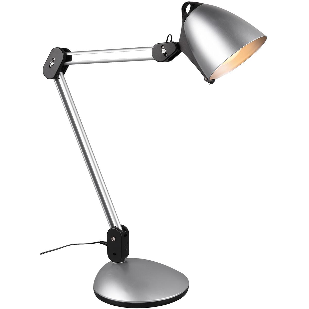 LED Tafellamp - Tafelverlichting - Trion Nadas - 6W - Aanpasbare Kleur - Dimbaar - Rond - Mat Titaan