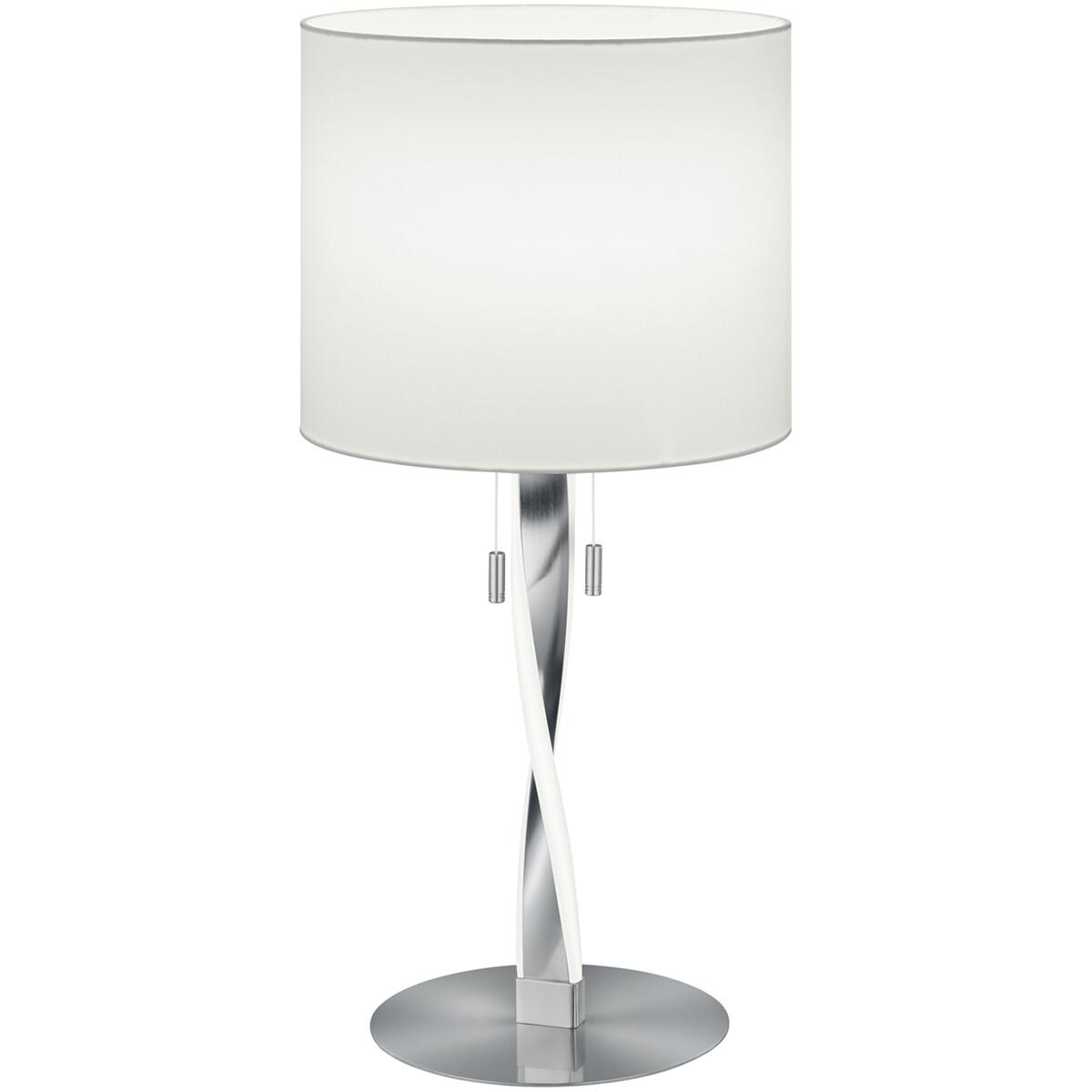 LED Tafellamp - Tafelverlichting - Trion Ninda - E27 Fitting - 6W - Warm Wit 3000K - Rond - Mat Nikk