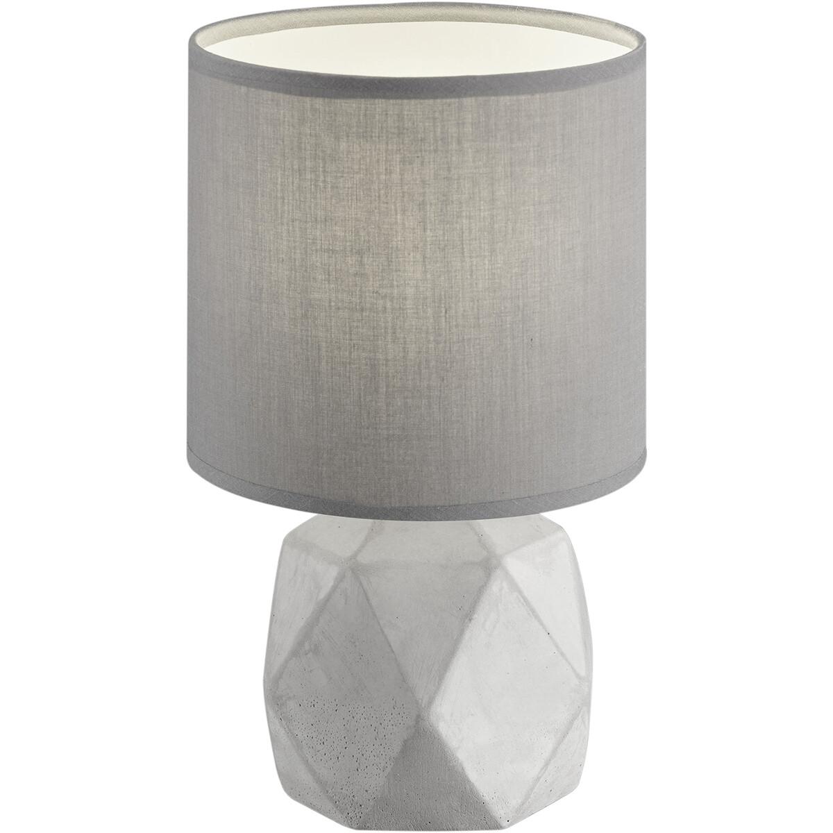 LED Tafellamp - Tafelverlichting - Trion Pikanto - E14 Fitting - Rond - Mat Titaan - Beton