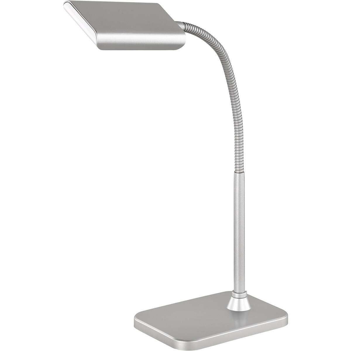 LED Tafellamp - Tafelverlichting - Trion Piko - 3W - Warm Wit 3000K - Rechthoek - Mat Titaan - Aluminium