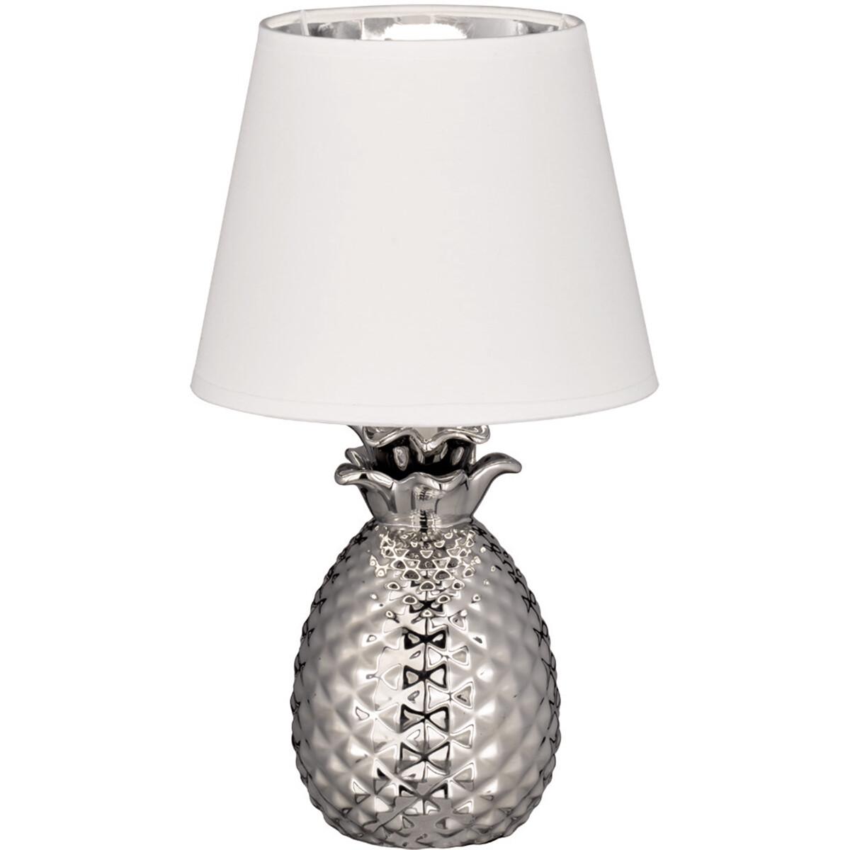 LED Tafellamp - Tafelverlichting - Trion Pinaply - E14 Fitting - Rond - Mat Zilver - Keramiek