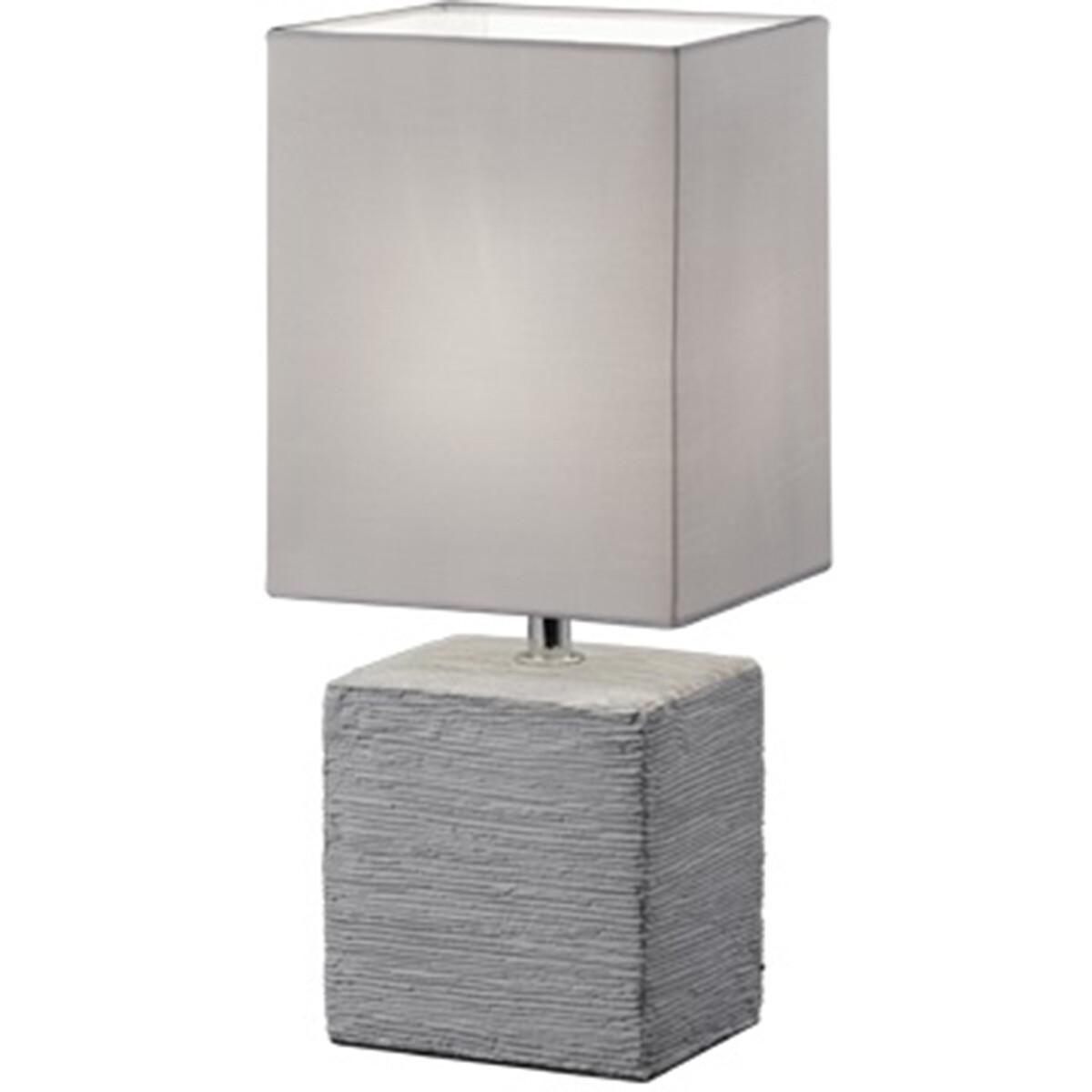 LED Tafellamp - Tafelverlichting - Trion Pinko - E14 Fitting - Rechthoek - Mat Titaan - Keramiek